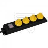 EGB4-fach Tischdose m.Klappdeckeln IP44 GNPBK04 schwarz/gelb, m