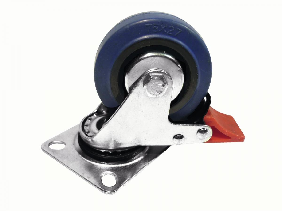 ROADINGERSwivel Castor 75mm blue with brake