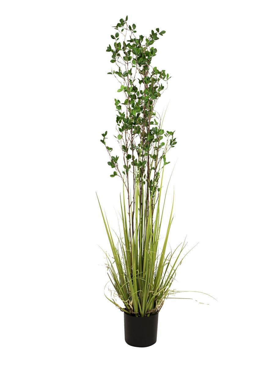 EUROPALMSEvergreen shrub with grass, artificial plant, 182cm