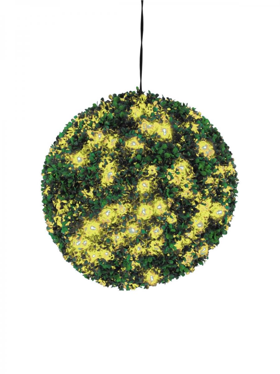 EUROPALMSBuchsbaumkugel mit gelben LEDs, künstlich, 40cm