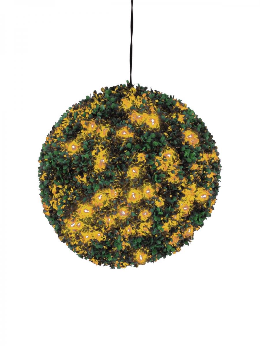 EUROPALMSBuchsbaumkugel mit orangenen LEDs,künstlich, 40cm