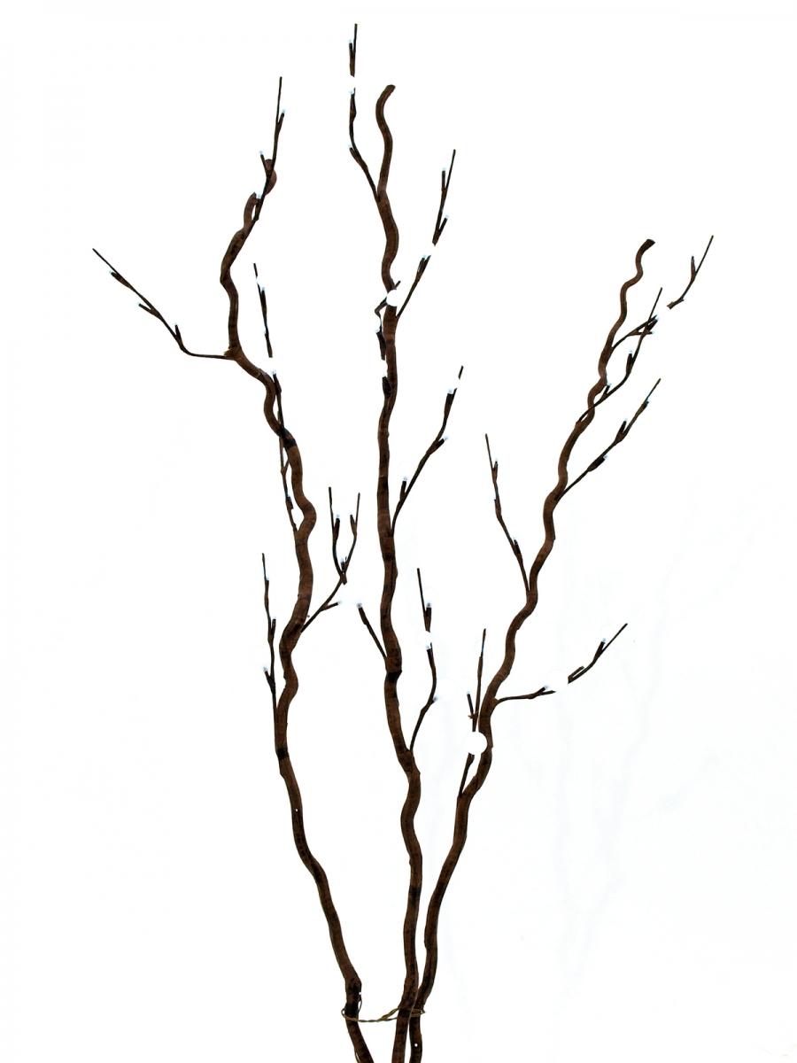 EUROPALMSCorkscrew branch, with LEDs, white, 120cm