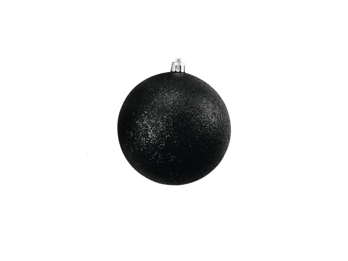 EUROPALMSDeco Ball 10cm, black, glitter 4x