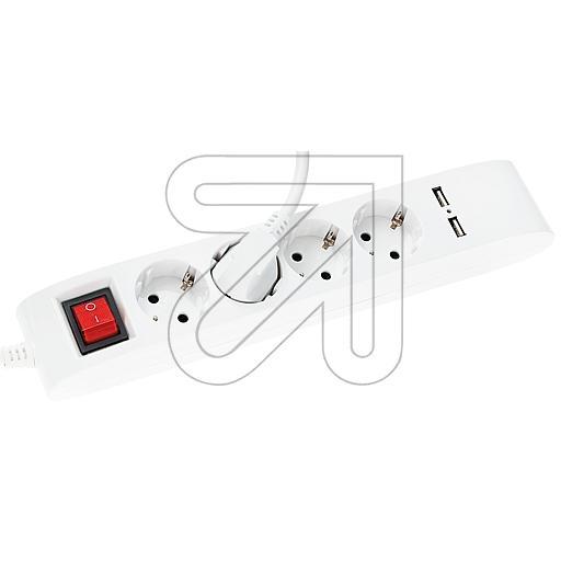 EGB4-fach Steckdosenleiste mit 2 x USB-Anschluss weiß