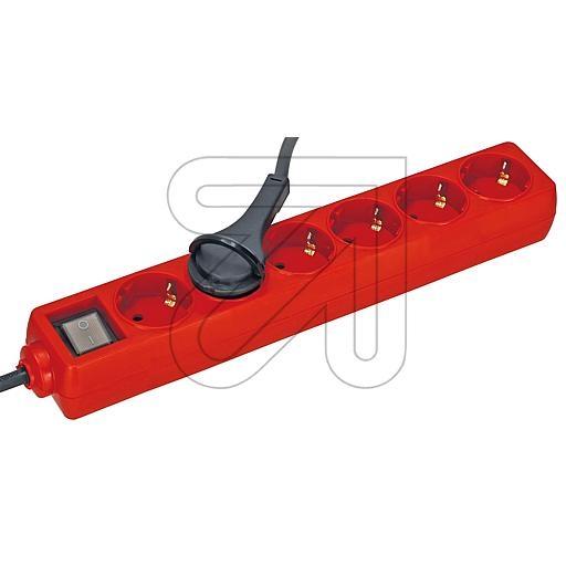 EGB6-fa.Steckdose m.Schalter u.Kinderschutz 1,5m rot mit Flachs