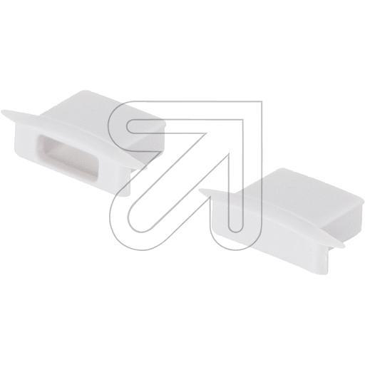 EVNEnd-Abschlusskappen-Set 1x geschlossen und 1x mit Leitungsöffnung weiß FLAT3PAK-SETW