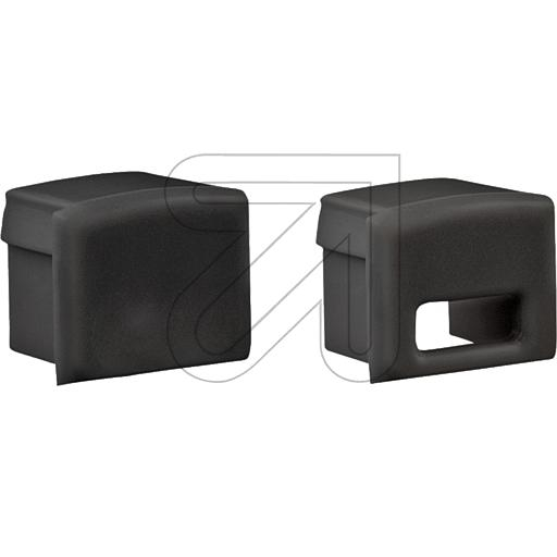 EVNEnd-Abschlusskappen-Set mit 2 Abschlusskappen 1x geschlossen und 1x mit Leitungsöffnung schwarz FLAT7PAK-SETB