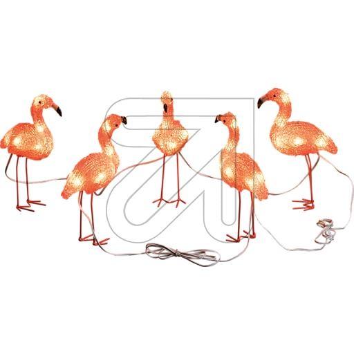 KonstsmideLED-Acryl Flamingo-Set 5 Flamingos 40 LEDs bernstein 12,5x12,5cm 6267-803
