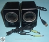 TCM1 pair of PC speakers TCM with 3.5mm stereo jack plug cable and mono jack cable used