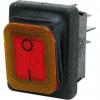 Inter BÄREinbau Wippenschalter IP65 22x30mm schwarz/rot, mit Beleucht