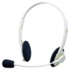 H&HComputer-Kopfhörer CH01V für Multimedia-Anwendung mit verstellbarem Mikrofon, Anschluß an Soundcard über 2 Klinkenstecker 3,5 mm Stereo Farbe lichtgrau