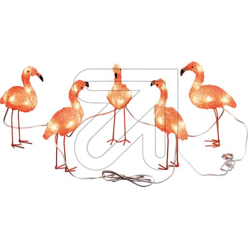 Konstsmide LED Acryl Flamingos 5er-Set 40 bernsteinf. LED auß 830710
