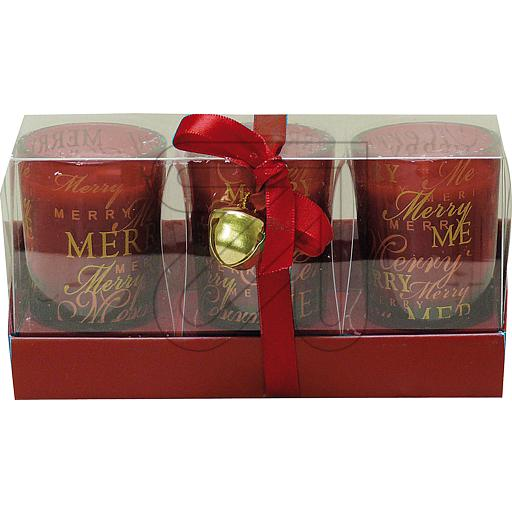 HGD Glaslampe Merry Christmas rot 3er Box 804759 ( 3 S 861610